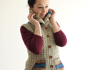 Crochet Woman Vest with high collar