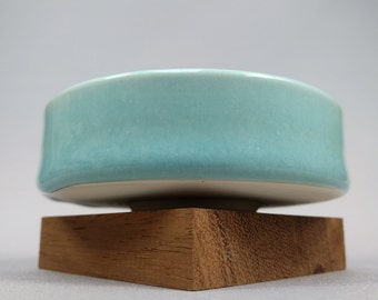 Porcelain Tea Bowl with Runny Turquoise Glaze