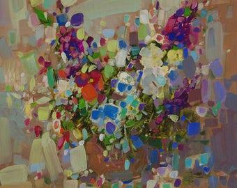 Flowers, Original oil painting, handmade artwork, Contemporary, Signed