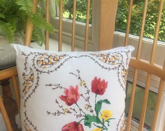 Pretty Bright Floral Vintage Embroidered Cushion