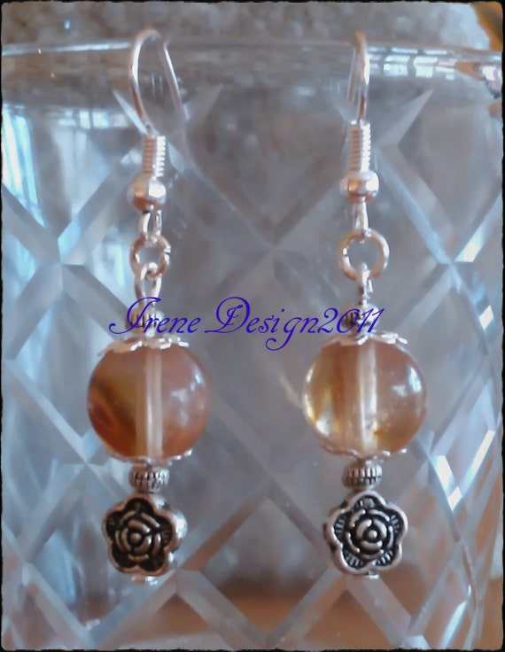 Watermelon Tourmaline & Rose Earrings by IreneDesign2011