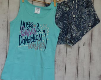 Personalized Hugs Kisses Dandelion Wishes Shirt or Onesie Girl