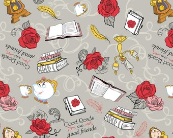 Disney Fabric Beauty and the Beast Fabric Belle Friends in Gray From Camelot 100% Cotton