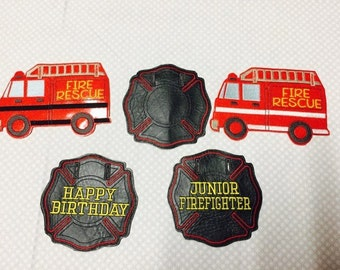 Junior Firefighter - Happy Birthday - Fire Truck Banner Design - 5 x 7 ONLY - DIGITAL Embroidery DESIGN