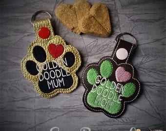 Golden Doodle - Golden Retriever - Poodle Mom AND Mum Paw Print - In The Hoop - Snap/Rivet Key Fob - DIGITAL Embroidery Design