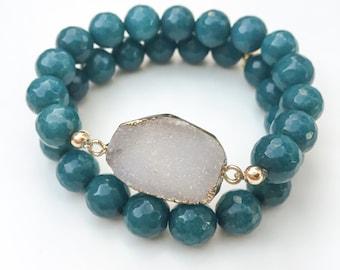 Druzy Geode Stretch Bracelets, set of 2