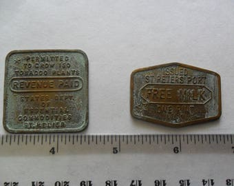 Vintage British Channel Islands brass tokens circa WWII collectors items money coins tokens