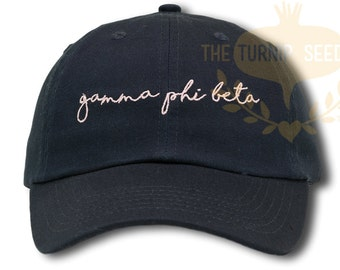 Gamma Phi Beta Handwriting Script Sorority Baseball Cap - Custom Color Hat and Embroidery