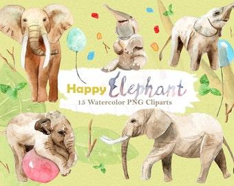 Elephant Clipart Watercolor Safari Wildlife Animal Jungle Baby Elephant Zoo Circus Digital Download Invitation Paint Planner