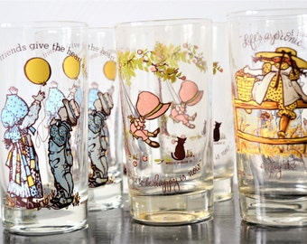 HOLLIE HOBBIE GLASSES Set of Ten Hollie Hobbie Girl Water Glass Collection