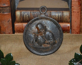 Antique French Cast Iron Plaque Wall Mount Frenchman