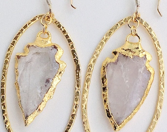 Natural Quartz Crystal Arrowhead Earrings