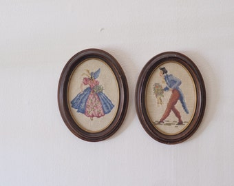 Pair of Hand Stictched 1940s Needlepoint Portraits man and woman victorian