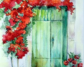 GREEN DOOR With Red Flowers - Original Watercolor