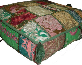 Indian vintage sari Khambadia rare patchwork beaded square pouf floor ottoman floor seating foot rest seat cover 17""