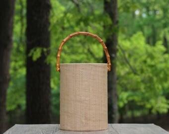 Large Vintage Raffia and Bamboo Ice Bucket / Raffia Ice Bucket with Bamboo Handles / Tall Ice Bucket / Vintage Bar Decor / Raffia Bamboo