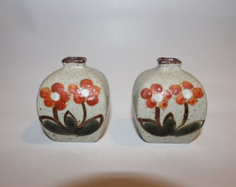 Pair of Vintage Hand Painted Pottery Vases