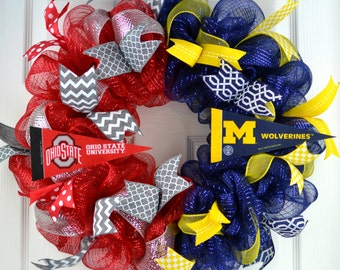 House divided wreath - football wreath - football door wreath - sports wreath - man cave decor - husband gift - fathers day present