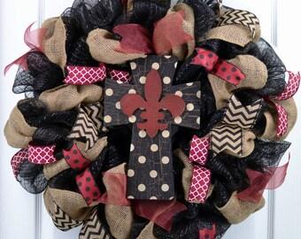 Mesh everyday wreath - Cross everyday wreath - Fleur de Lis wreath - Mesh wreath - Mesh everyday wreath - Burlap wreath - Year Round wreath