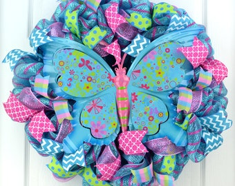 Butterfly wreath - Spring everyday wreath - Spring wreath - Summer wreath - spring door wreath - front door wreath - everyday wreath