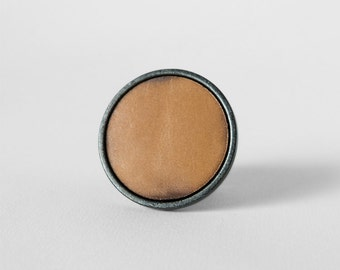 Hide Cabinet Knobs - Tan Leather Knob - Drawer Pulls - Satin Nickel & Gunmetal - Simple Modern - Kitchen Bath Dresser - American Made