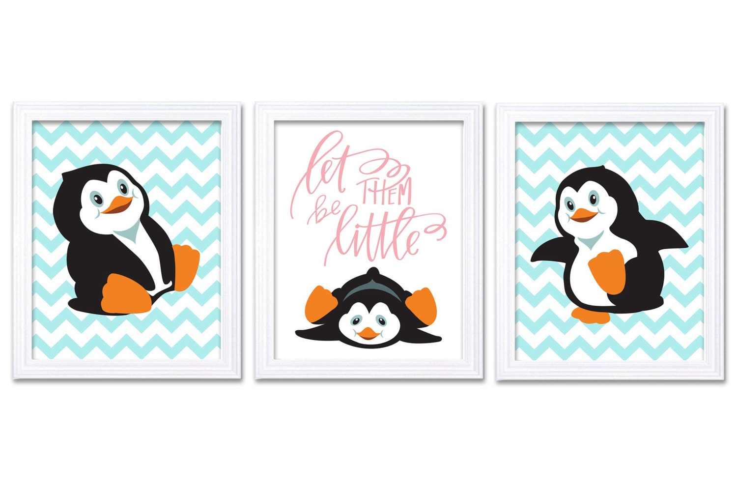Penguin Nursery Art Set of 3 Print Black White Baby Blue Pink Dream Let Them Be Little Kid Room Wall