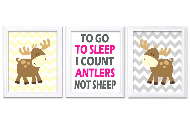 Moose Nursery Art Prints Set of 3 To Go To Sleep Count Antlers Hot Pink Grey Yellow Chevron Baby Gir