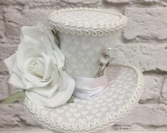 White Mini Top Hat, White fascinator, Rose Top Hat