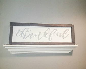Framed gray and white thankful wood sign for the home. Thanksgiving sign. Grey/gray/white. Rustic home decor sign. Thankful. Neutral decor.