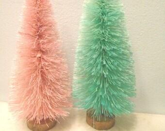 6 inch Pink Aqua Easter Bottle Brush Trees Sisal Christmas Shabby Chic Village Easter Decor Decorations