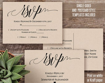 Printable RSVP, Rsvp card template, Wedding Rsvp, Postcard Rsvp template, Instant download editable PDF W127-3