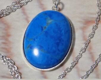 Blue Howlite Turquoise Tone Gemstone Necklace