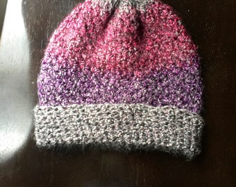 Handmade Crochet Beanie~   Purple, Pinks, and Greys (RESERVED)