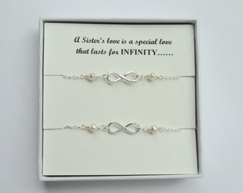 Sister gift, Two Sterling silver Infinity pearl bracelets, Infinity pearl bracelets, Infinity jewelry, Pearl bracelet