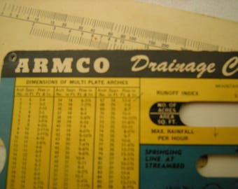 vtge ARMCO calculator-drainage calculator-calculator for pipes-engineer tool-math puzzle-copyright 1947-