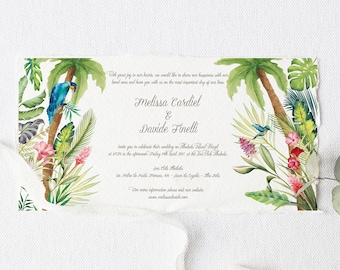 Palm Leaves Wedding Invitation, Destination Wedding Invitation, Brazil Wedding Invitations, Bilingual Wedding Invitation, Watercolor Suite