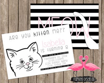 Kitten Birthday Invitation - Cat Birthday Invitation (digital & card stock)