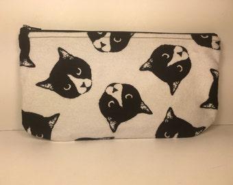 Cat Print Zippered Pencil Pouch Bag