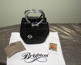Brighton Black Leather and Croc Heart Handle Handbag