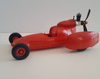 Vintage 1970's Cox Shrike tether car, .049 propeller driven toy, motor has compression,  as found