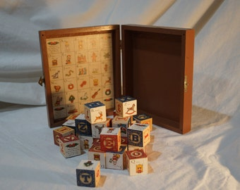 Vintage Christmas ABC Wooden Blocks and Hinged Wood Box