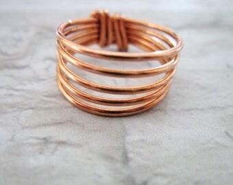 Gifts for Mom, Copper Ring, Stacking Rings, Copper Ring Women, Spiral Ring, Unisex Ring, Handmade Rings, Chunky ring, Gift for Women,
