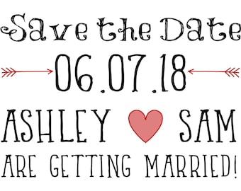 Arrow and Heart Save the Date 7x5 Custom Digital Card