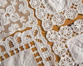 Set of four small square handmade white cotton doilies