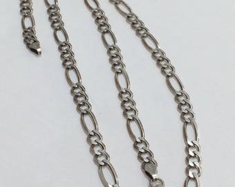 "STERLING SILVER 5mm FIGARO Chain Necklace 20""  12.5 Grams!"