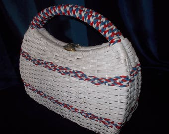 Vintage 1960s Vinyl Straw Woven Hand Bag