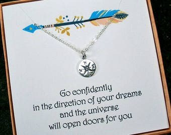 Graduation Gift, Go confidently in the direction, Daughter, Graduation Gift for Her, Sister, Granddaughter, Sterling Silver Compass Necklace