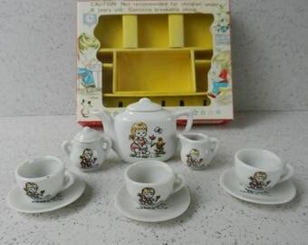 1974 Reevesline Garden Girl Toy Tea Set in Original Box, Miniature China Tea Set, Made in Japan, 11 Pieces