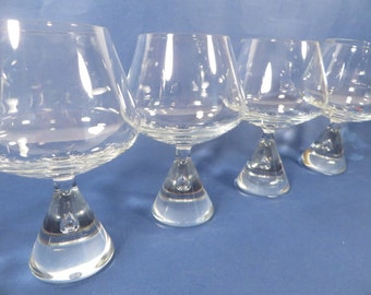 Mid Century Set of 6 Princess Crystal Brandy Cognac Glasses - Princess Glasses Designed by Bent Severin of Holmegaard Glasvaerk
