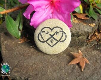 Polyamory Triad Love Infinity Heart Initials Stone 2in-3in - Custom Hand Engraved Personal Keepsake Stone